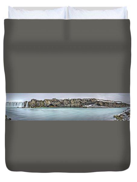 The Godafoss Falls Pano Duvet Cover