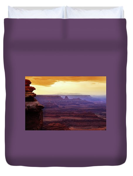 Duvet Cover featuring the photograph The Gold Light Of Dawn by Marie Leslie