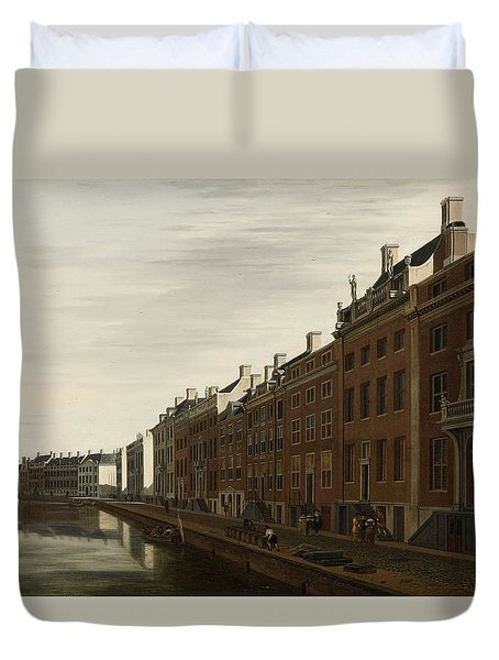 The Golden Bend In The Herengracht, Amsterdam, Seen From The West, 1672 Duvet Cover