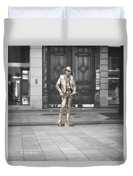 Duvet Cover featuring the photograph The Golden Cowboy by Stwayne Keubrick