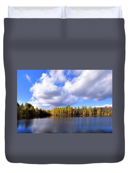 Duvet Cover featuring the photograph The Golden Forest At Woodcraft by David Patterson