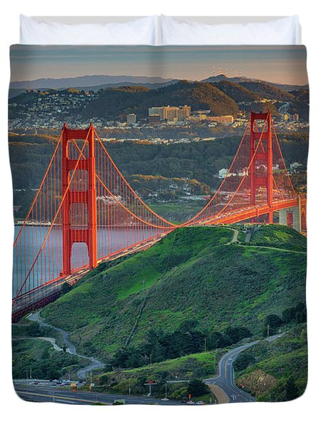 The Golden Gate At Sunset Duvet Cover