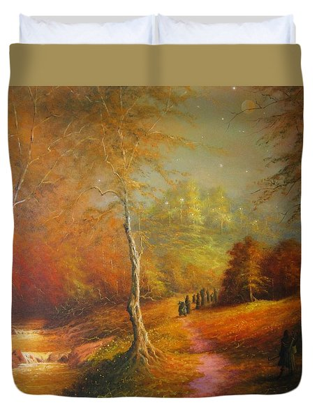 Golden Forest Of The Elves Duvet Cover
