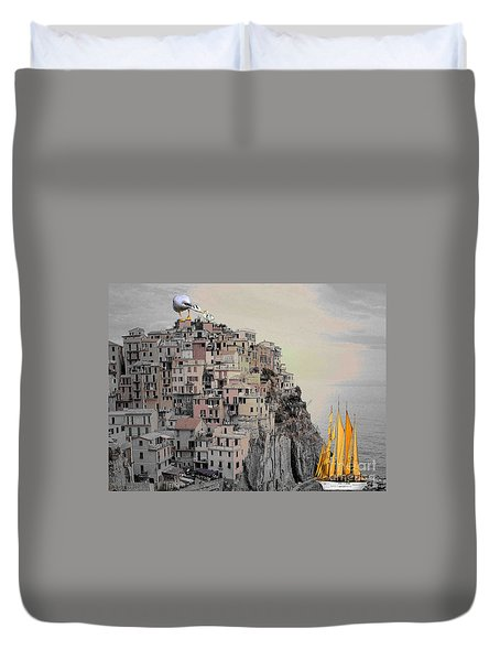 The Golden Sails Duvet Cover by Mojo Mendiola