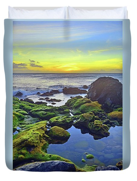 Duvet Cover featuring the photograph The Golden Skies Of Molokai by Tara Turner