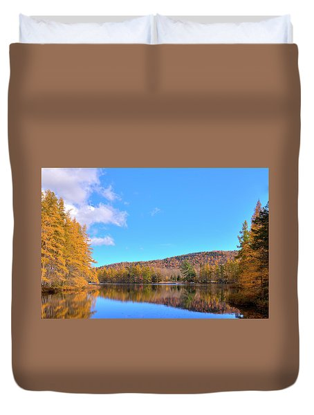 Duvet Cover featuring the photograph The Golden Tamaracks Of Woodcraft Camp by David Patterson