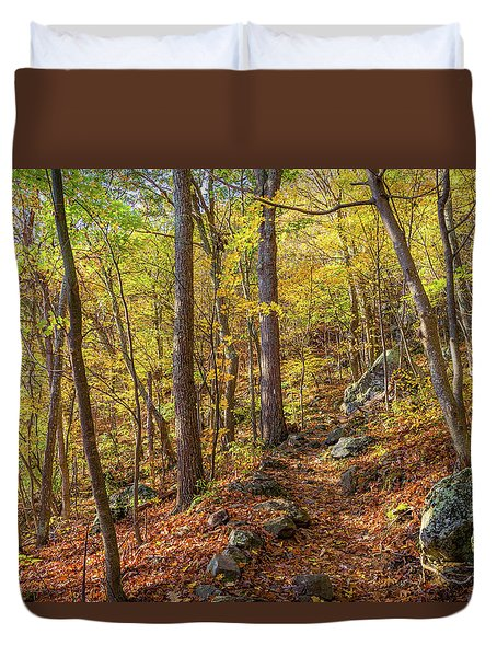 Duvet Cover featuring the photograph The Golden Trail by Lori Coleman