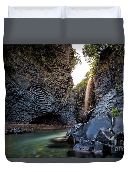 The Golden Waterfall Duvet Cover by Giuseppe Torre
