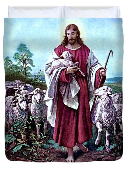 The Good Shepherd 1878 Bernhard Plockhorst Duvet Cover