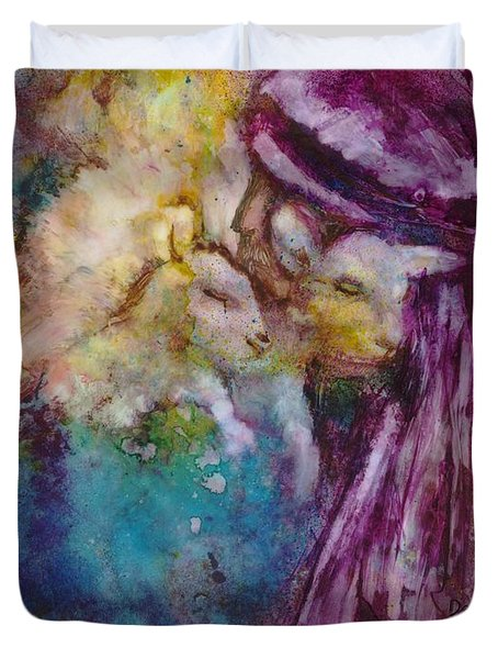 Duvet Cover featuring the painting The Good Shepherd by Deborah Nell