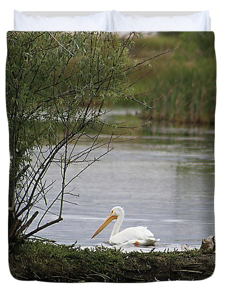 Duvet Cover featuring the photograph The Goose And The Pelican by Alyce Taylor