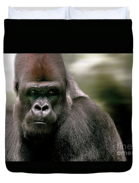 Duvet Cover featuring the photograph The Gorilla by Christine Sponchia