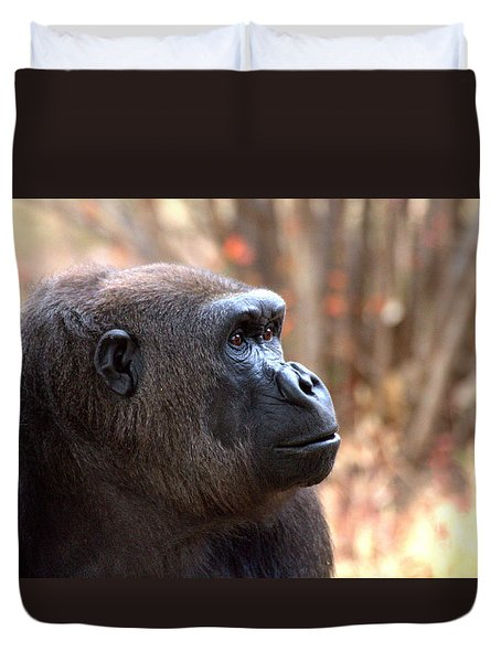 Duvet Cover featuring the photograph the Gorilla thinks by Ruth Jolly