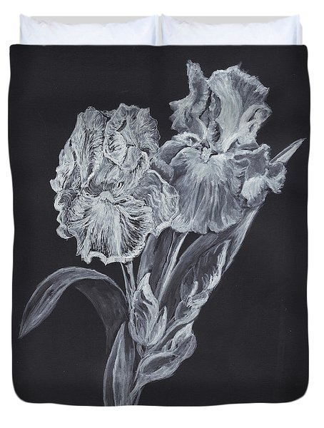 Duvet Cover featuring the painting The Gossamer Iris by Carol Wisniewski