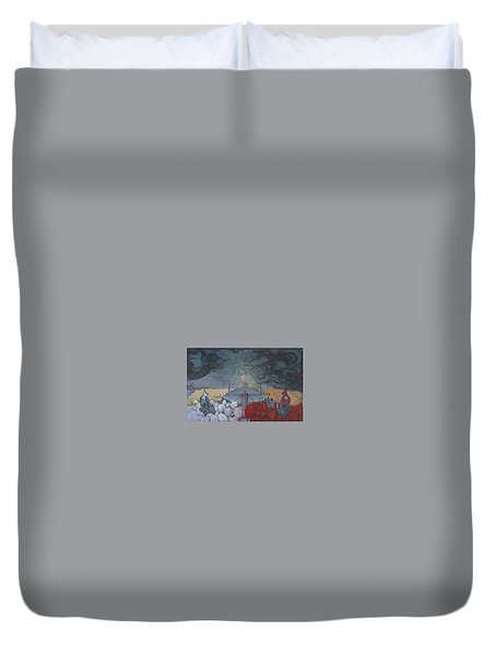 Duvet Cover featuring the painting The Graduates Of Peshawar by Andrew Batcheller