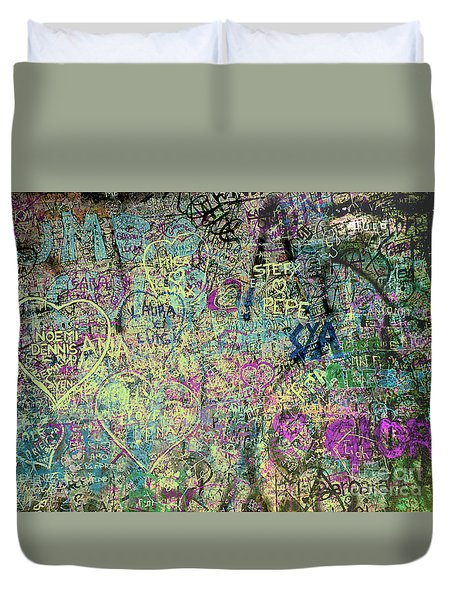 Duvet Cover featuring the photograph The Graffiti Wall - Verona, Italy by Merton Allen