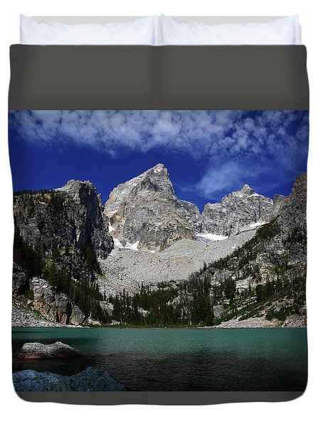 The Grand And Mount Owen From Delta Lake Duvet Cover