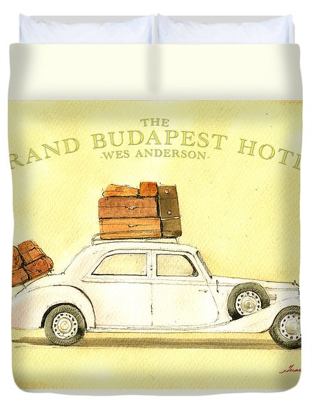 The Grand Budapest Hotel Watercolor Painting Duvet Cover