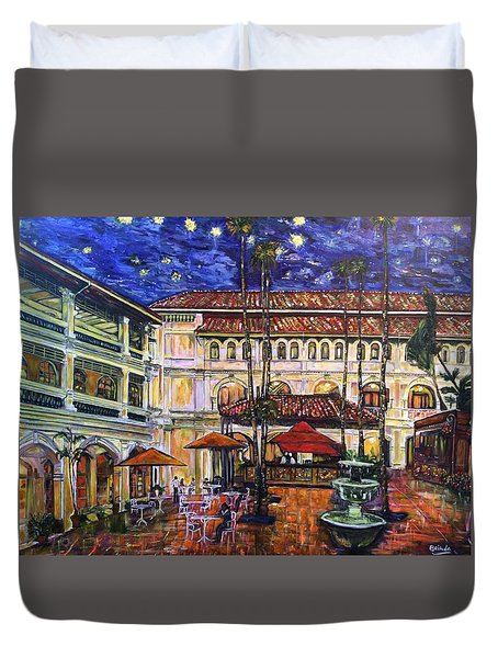 The Grand Dame's Courtyard Cafe  Duvet Cover by Belinda Low