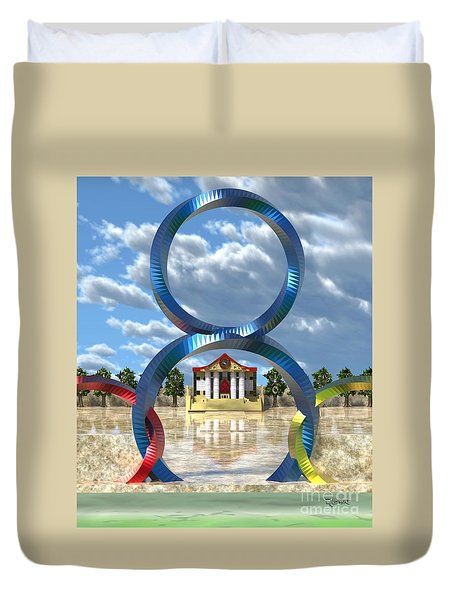 Duvet Cover featuring the sculpture The Grand Hall Of 8 Town by Dave Luebbert