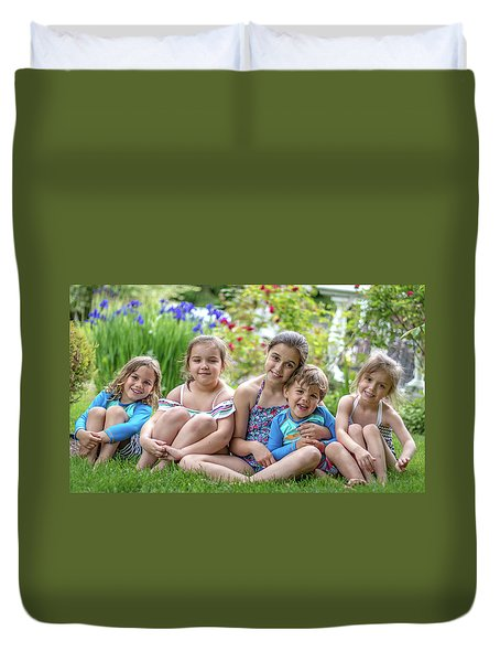 The Grand Kids In The Garden Duvet Cover