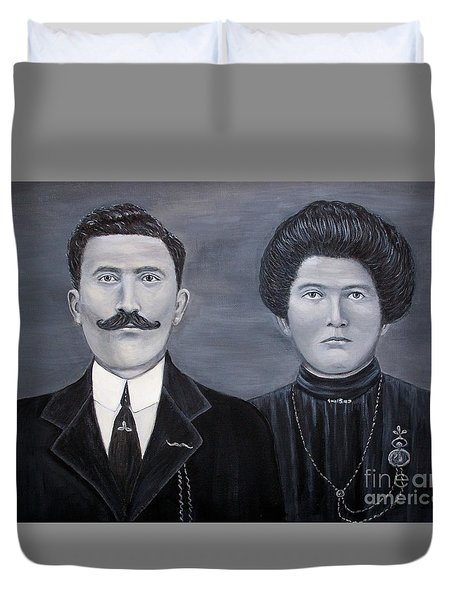 Duvet Cover featuring the painting The Grandparents by Judy Kirouac