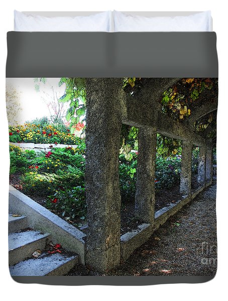 The Grape Arbor Path Duvet Cover by David Blank