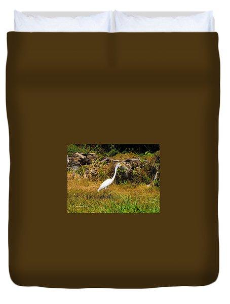 Egret Against Driftwood Duvet Cover