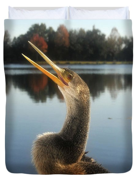 The Great Golden Crested Anhinga Duvet Cover by David Lee Thompson