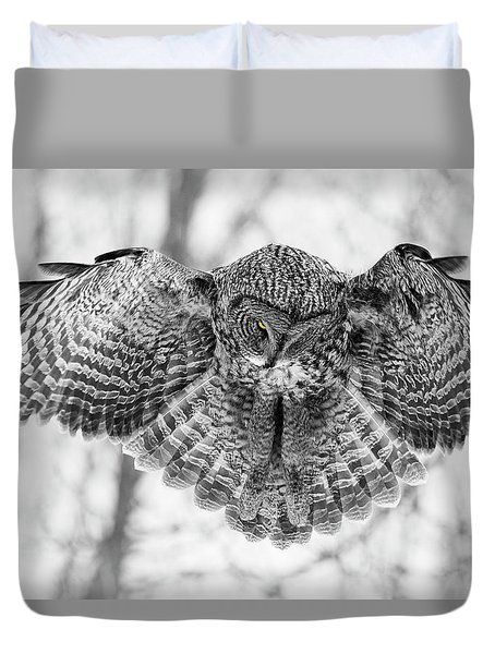 Duvet Cover featuring the photograph The Great Grey Owl In Black And White by Mircea Costina Photography