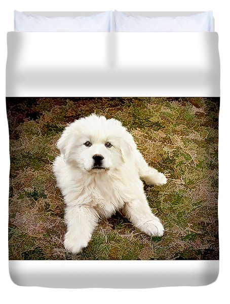 Duvet Cover featuring the photograph The Great Pyranise Puppy by Bonnie Willis