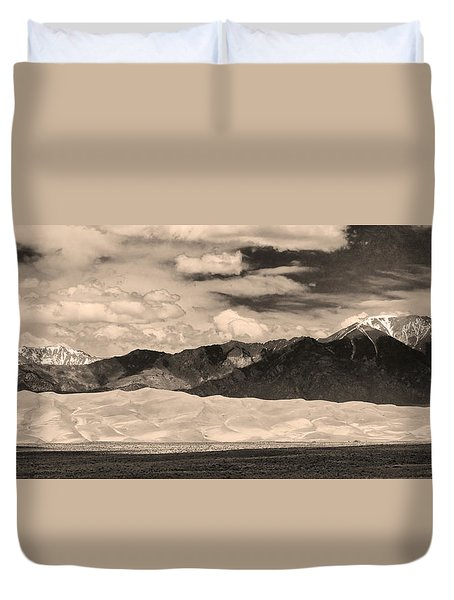 The Great Sand Dunes Panorama 2 Sepia Duvet Cover by James BO  Insogna