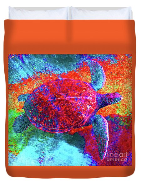 The Great Sea Turtle In Abstract Duvet Cover