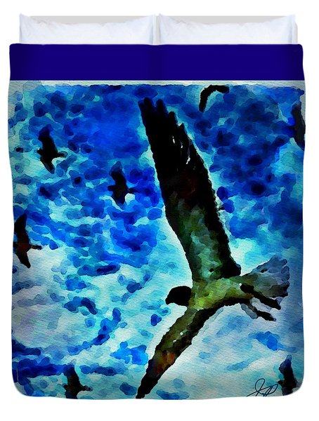 Duvet Cover featuring the painting The Great Seagull by Joan Reese