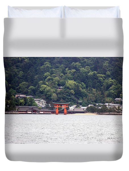 Duvet Cover featuring the photograph The Great Torii In Distance by Yumi Johnson