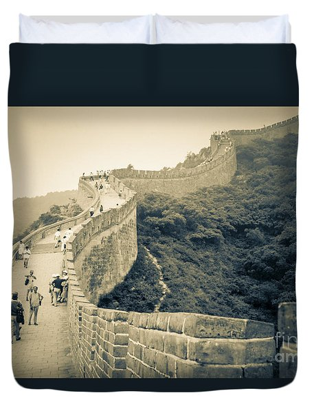 Duvet Cover featuring the photograph The Great Wall Of China by Heiko Koehrer-Wagner