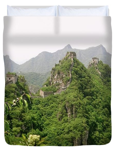 The Great Wall Of China Winding Over Mountains Duvet Cover