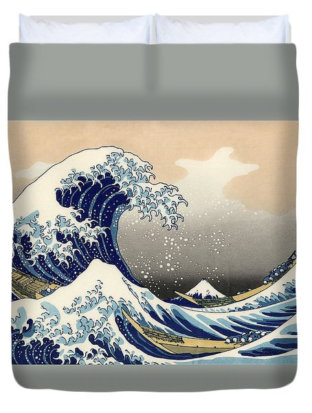 Duvet Cover featuring the photograph The Great Wave Off Kanagawa by Katsushika Hokusai