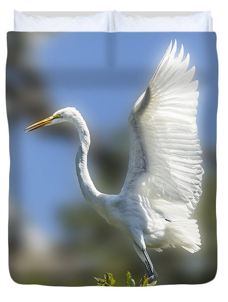 Duvet Cover featuring the photograph The Great White Egret by Paula Porterfield-Izzo