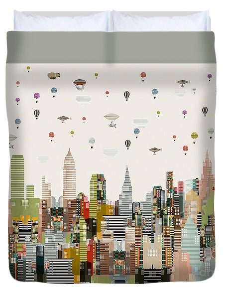Duvet Cover featuring the painting The Great Wondrous Balloon Race by Bri B