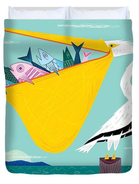 The Greedy Pelican Duvet Cover
