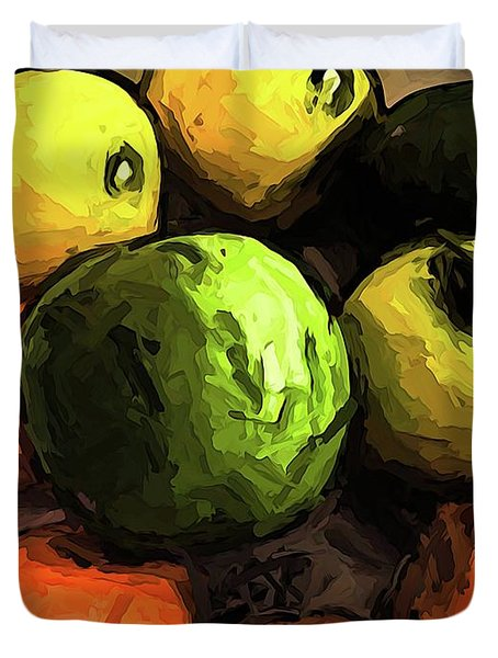 The Green And Gold Apples With The Orange Mandarins Duvet Cover