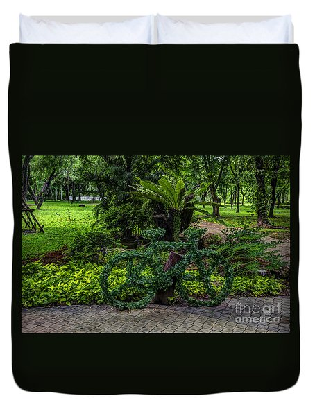 The Green Bicycle Duvet Cover