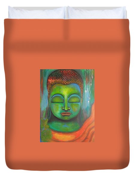 Duvet Cover featuring the painting The Green Buddha by Prerna Poojara