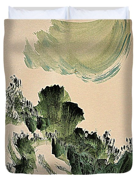 The Green Cliffs With A Cloud Duvet Cover