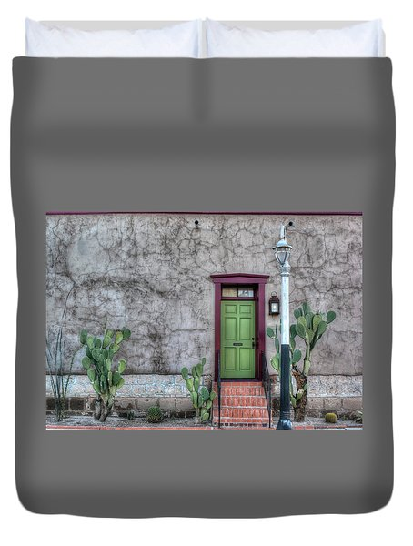 The Green Door Duvet Cover by Lynn Geoffroy