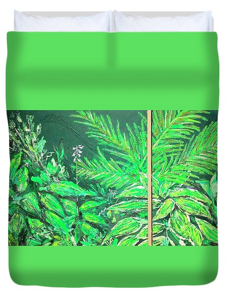 Duvet Cover featuring the painting The Green Flower Garden by Darren Cannell
