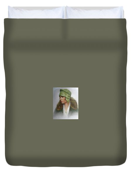 The Green Hat Duvet Cover by Janet McGrath