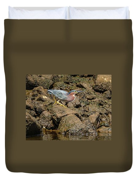 The Green Heron Duvet Cover by Jerry Cahill
