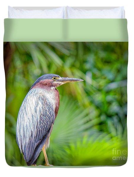 The Green Heron Duvet Cover
